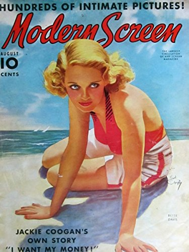 MODERN SCREEN MAGAZINE August 1938 COVER: Bette Davis in bathing suit!. INSIDE PHOTOS: Olivia DeHavilland, Spencer Tracy, Judy Garland and Deanna Durbin (rare), Shirley Temple, Carole Lombard. MOVIE ADS: