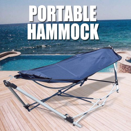 Portable Folding Hammock Carrying Bag Pillow Bed Cot Camping Stand, Navy