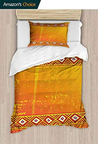 (CheeryHome Bedspread Set Queen Size, Tribal Theme Grunge Ornaments with Geometric Pattern Print, Kids Bedding-Does Not Shrink or Wrinkle,59 W x 78 L Inches, Orange and Marigold )