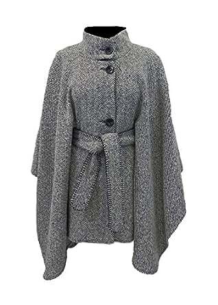 Amazon.com: Black & White Tweed Belted Cape by Irish