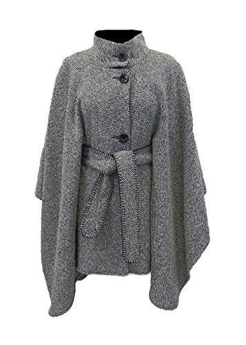 Black & White Tweed Belted Cape by Irish Designer Jimmy Hourihan. ()