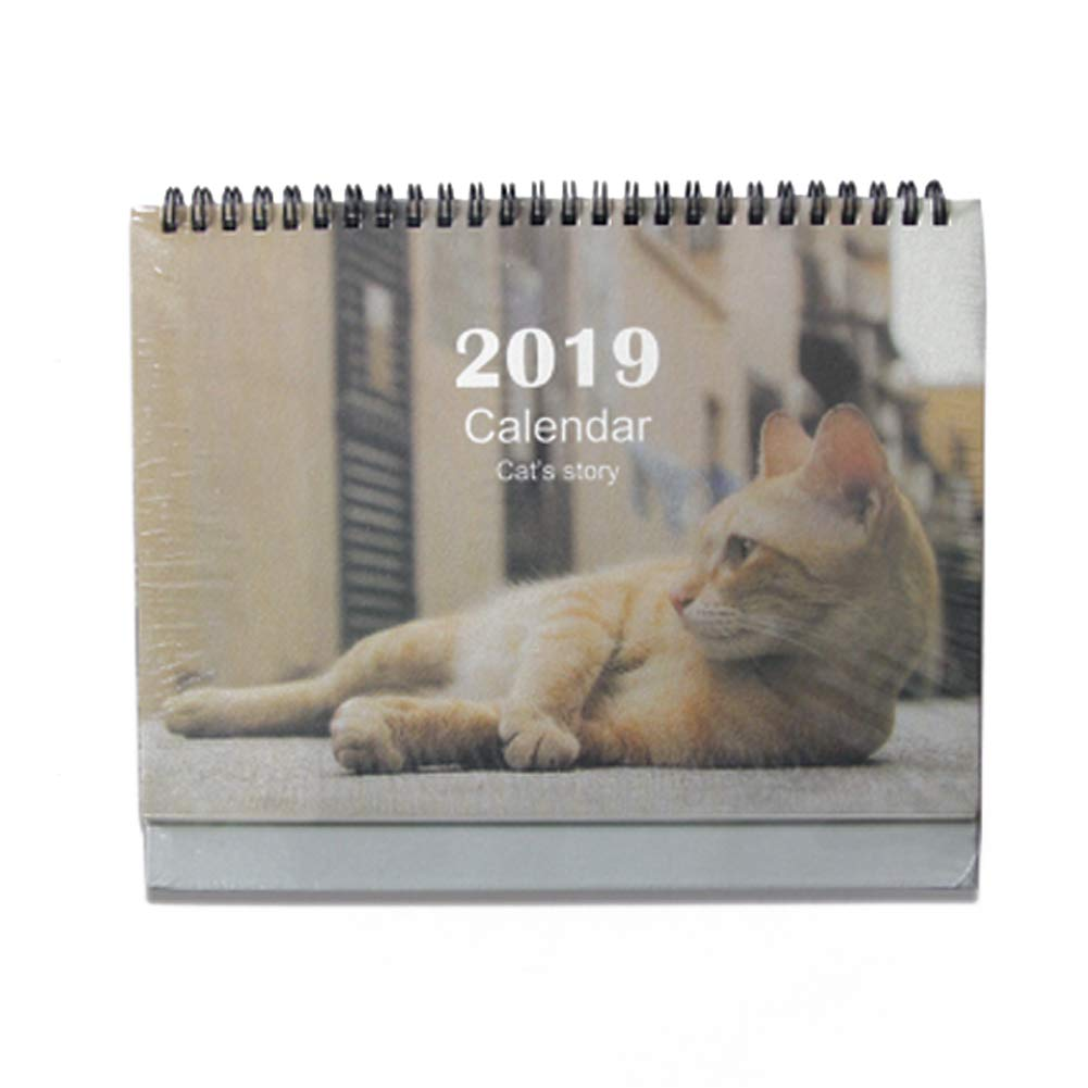 Whthteey Lovely Cat Stand Desktop Calendar Twin-Wire Binding Runs from June 2018 Through December 2019 Monthly Planners for Office Home School (Cat 3)
