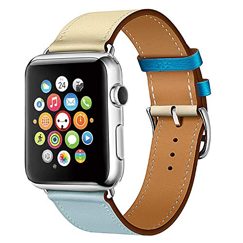 (TEXSCOPE Compatible with iWatch Genuine Leather Straps Single Tour Apple Watch Band Replacement iWatch Series 3/2/1/Edition/Sport 42mm 38mm (Bleu Lin/Craie/Bleu du Nord Swift, 42mm))