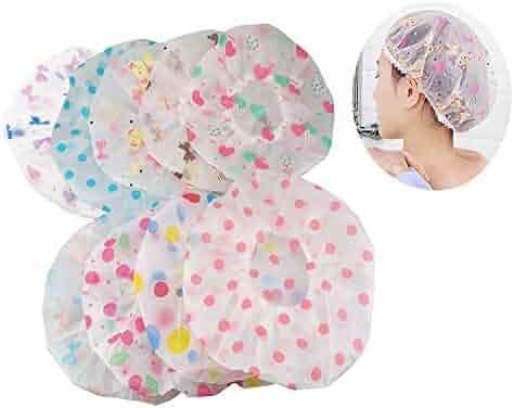 yueton Pack of 8 Vogue Lady Elastic Waterproof Plastic Shower Bathing Salon Hair Cap (Dot series)