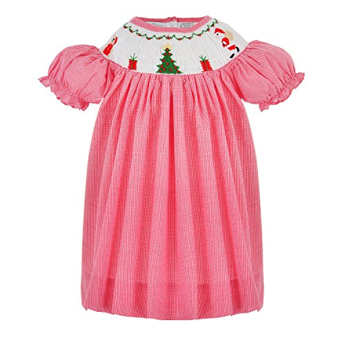 Bishop Dresses Infant (Carriage Boutique Baby Girls Light Red Hand Smocked Bishop Dress, 12M)