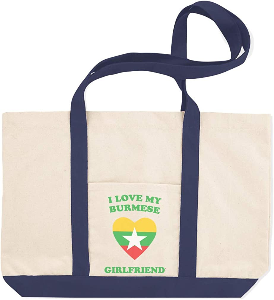 Canvas Shopping Tote Bag I Love My Burmese Girlfriend Countries Burmese Beach Bags for Women