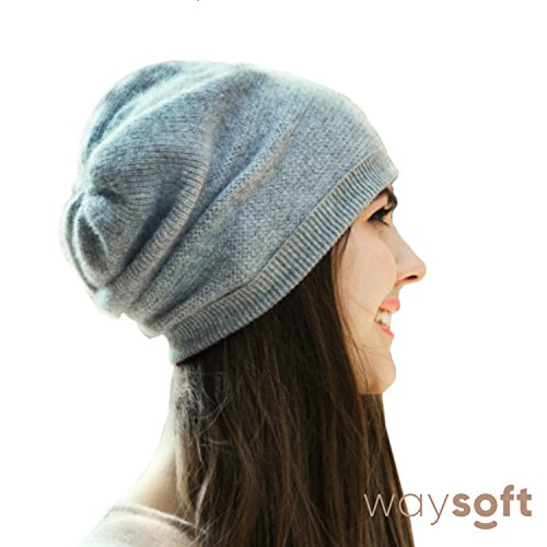 WaySoft Pure 100% Cashmere Beanie For Women In a Gift Box, Oversized Women Beanie Hat, Bring Warm and Luxury To Your Loved Ones, Perfect Holiday Gift (Grey)