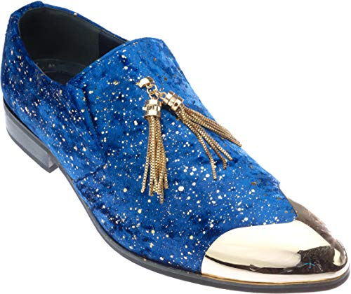 Ronaldinho Apparel - Ronaldinho Mens Slip-On Fashion-Loafer Sparkling-Glitter Royal-Blue Dress-Shoes Size 9