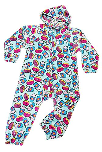 Confetti Pajamas (Confetti and Friends Girl's Fuzzy Plush One Piece Jumpsuit - Frappuccino and Donuts - 10/12)