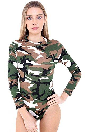 21fashion Dames Style Polo Cou Imprimé Simple Justaucorps Manches Longues Tortue Justaucorps Haut Polo Tortue Camouflage Armée Bodysuit Cou