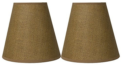 Urbanest Set of 2 Hardback Empire Lamp Shade 5-inch by 9-inch by 8.5-inch, Woven Grass, Natural, Spider Washer -