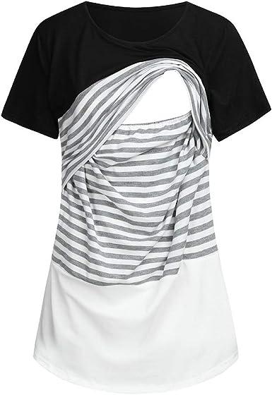STRIR Camiseta Maternidad Lactancia Blusa Mujer Embarazada Manga Corta Cosiendo Raya Blusa Suelto Tops Verano amamantar Camisa: Amazon.es: Ropa y accesorios