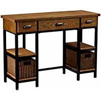 Southern Enterprises Mirada Writing Desk 42 Wide, Weathered Gray and Natural Brown Finish