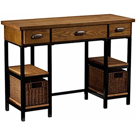 Southern Enterprises Mirada Writing Desk 42 Wide Weathered Gray And Natural Brown Finish