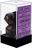 Chessex Gemini Polyhedral Die Set, Black/Purple/Gold