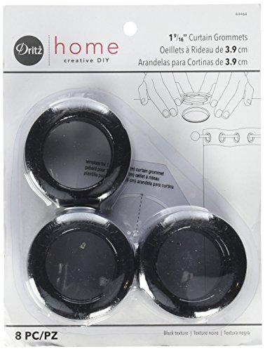 Dritz Home 44464 Round Curtain Grommets, 1-9/16-Inch, Black Textured (8-Piece)