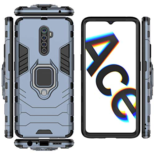 FanTing Case for Oppo Realme X2 Pro, Rugged and shockproof,with mobile phone holder, Cover for Oppo Realme X2 Pro-Dark Blue