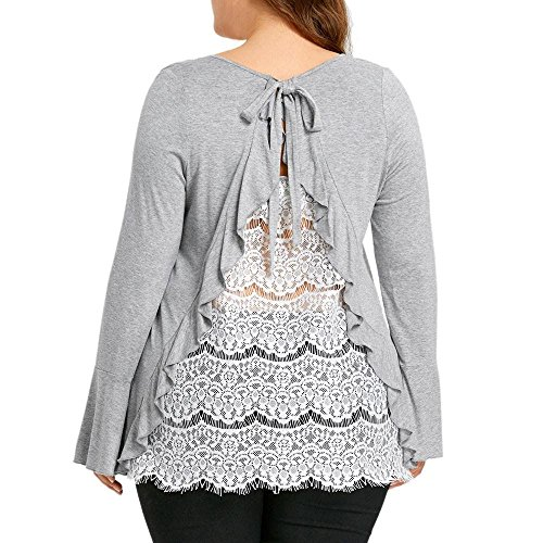 HGWXX7 Women Tops Long Sleeve Casual Plus Size Back Lace Solid Blouse T-Shirt(XXL,Gray) from HGWXX7
