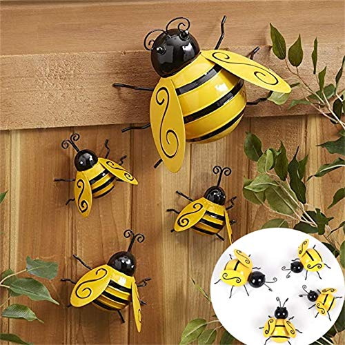 Metal Garden Wall Art Decorative Cute Ladybugs Outdoor Wall Sculptures Decorative Metal Bumble Bee Garden Accents Lawn Ornaments (Small)