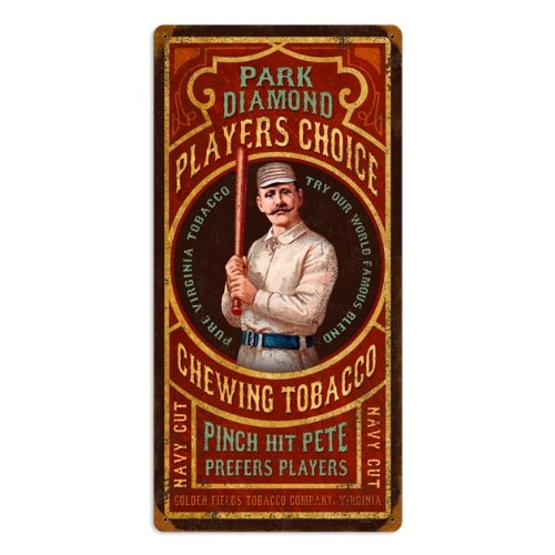Chewing Tobacco Tin - Baseball Park Diamond Chewing Tobacco Vintage Metal Sign 12 X 24 Steel Not Tin