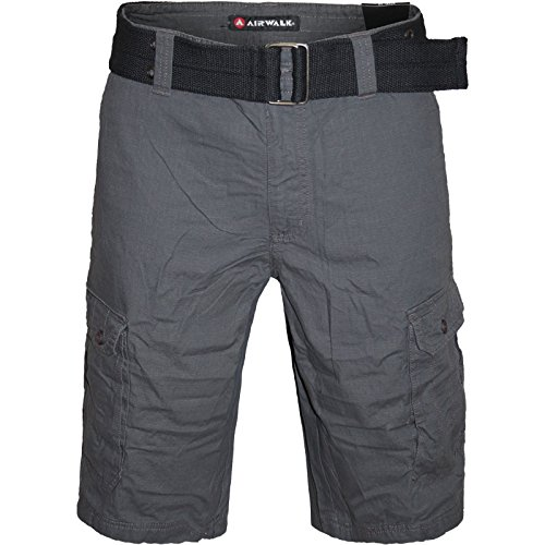2k16july-mens-airwalk-cargo-combat-belted-multi-pocket-casual-summer-shortscharcoal-w36