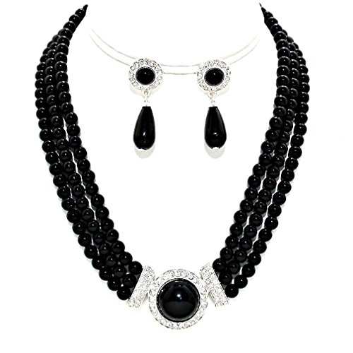 - Simple Statement Multi Layered Strands Jet Black Pearl Crystal Elegant Necklace Earrings Set Gift Bijoux