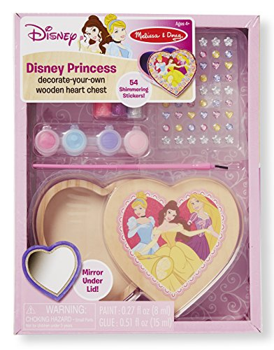 Melissa & Doug Disney Princess Decorate-Your-Own Wooden Heart Chest Craft Kit - 54 Stickers