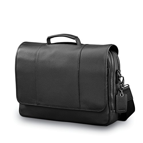 Samsonite Mens Leather Classic Flap Briefcase Black - Samsonite Black Briefcase