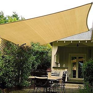 HAIKUS Toldo Vela Rectangular 2.5×3 m, Vela de Sombra HDPE, Transpirable, Resistente, Protección Rayos UV para Exterior, Jardín, Terrazas (Arena)
