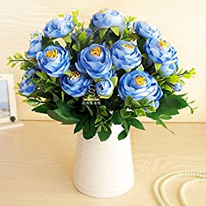 Situmi Artificial Fake Flowers Camellia Ceramic Vases Blue AHome Accessories 77