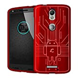 Droid Turbo 2 Case, Cruzerlite Bugdroid Circuit Case Compatible for Motorola Droid Turbo 2 - Retail Packaging - Red