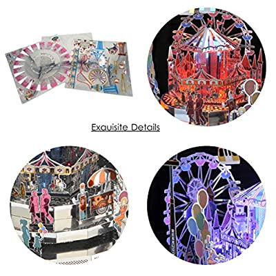 3D Metal Puzzle DIY Colorful Amusement Park Model Building Kit, Rotation Music Box with Remote Control LED Lights, Creative Gift for Girls: Toys & Games