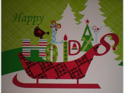 Msi White Book (Glittered Happy Holidays Note Cards w/ Envelopes - Sled, Trees, Presents)