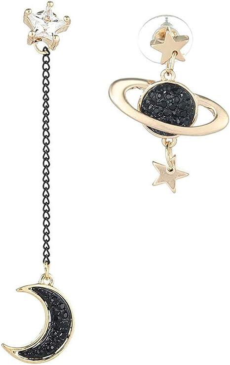 Ogquaton Premium Asym/étrique /Étoile Lune Cosmic Pendentif Boucles Doreilles Personnalit/é f/éminine Simple Sauvage Boucle Doreille Accessoires