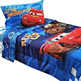 4pc Disney Cars Twin Bedding Set Lightning McQueen City Limits Comforter and Sheet Set