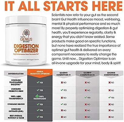 Genius Digestive Enzymes for Digestion & Total Wellness   Restore Gut Heath w/Bromelain, Ginger Root & Prebiotics – Natural Relief Formula for Gas, Heartburn, Constipation   135 Vegetarian Capsules