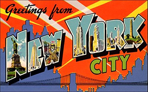 American Vinyl Greetings From NEW YORK CITY Sticker (vintage post card nyc design)