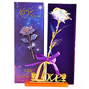 BEFINR Colorful Artificial LED Light Flower Galaxy Plastic Luminous Rose Unique Presents Valentine's Day Thanksgiving Mother's Day Girl's Birthday, Best Gifts for Her for Girlfriend Wife Women