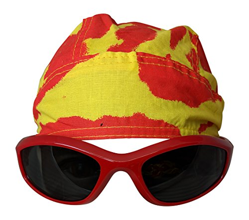 Main Event Market Tie Dye Skull Cap Doo Rag Sunglasses Mens Costume - RED by Main Event Market