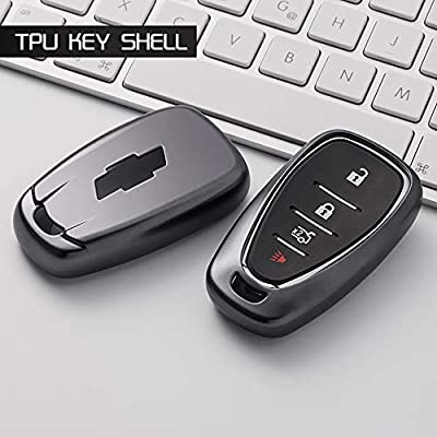 GEERUI Compatible with Chevrolet Key Fob Case Shell Cover TPU Protector Holder with Key Chain for Chevrolet Chevy 2020 2020 2020 2020 2016 Malibu Camaro Cruze Traverse Keyless Entry (Black): Automotive