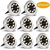 Biling Solar Disk Lights Outdoor, 8 LED Bulbs Solar Ground Lights Outdoor Waterproof for Garden Yard Patio Pathway Lawn Driveway - Warm White (8 Pack)...