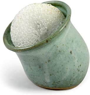 product image for American Handmade Stoneware Pottery Tilted Scrubby Holder (Sage Green)