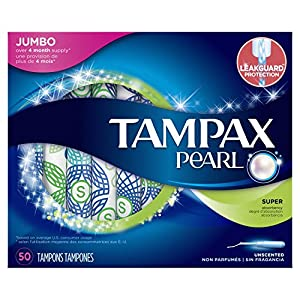 Tampax Pearl Plastic Tampons, Super Absorbency, Unscented, 50 Count (Packaging May Vary)