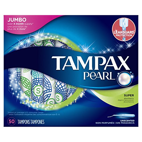 Tampax Pearl Tampons with Plastic Applicator, Super Absorbency, Unscented, 50 ()