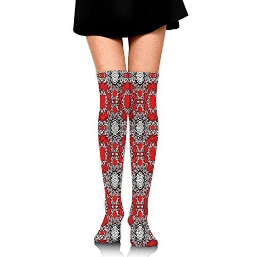 Hizhogqul Doodle Flowers Swirls Tribal Ethnic Kaleidoscope Indian Style Women's Fashion Over The Knee High Socks (60cm)