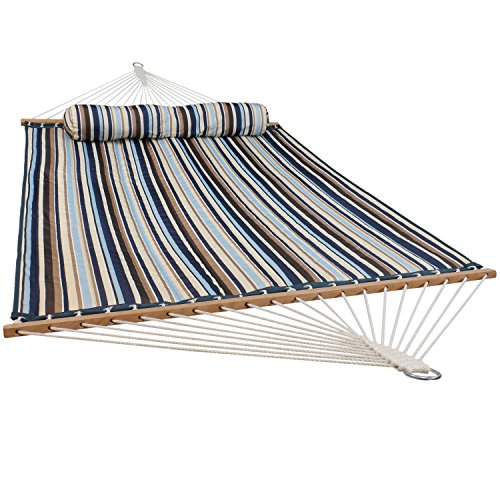 - Sunnydaze Quilted Fabric Hammock Two Person with Spreader Bars, Outdoor Heavy Duty 450 Pound Capacity, Ocean Isle