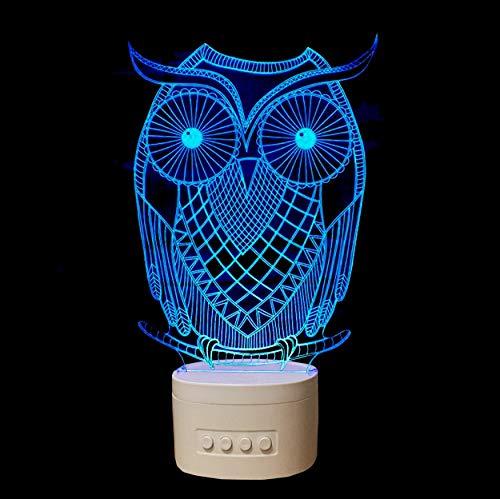 Acryl Nachtlicht Visuelle Eulenform 3D Führte Lampe Mit Blautooth-Sprecher Usb-Tischlampe Als Haus Dekorative Geführte Nächte Lampe Usb Führte Helle Lampe