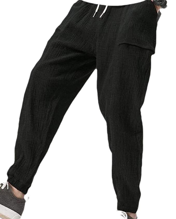 SOWTKSL - Pantalones de chándal para Hombre (algodón) Negro Negro ...