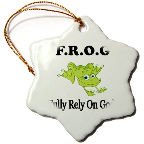(3dRose ORN_149833_1 Frog Fully Rely on God Snowflake Ornament, Porcelain, 3-Inch)