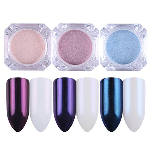 Pearl Nail Powder - 3 Boxes Mirror Pearl Nail Glitter Powder Set Manicure Dust Shining Mermaid Makeup Powder Nail Art Decoration SupertownAZ